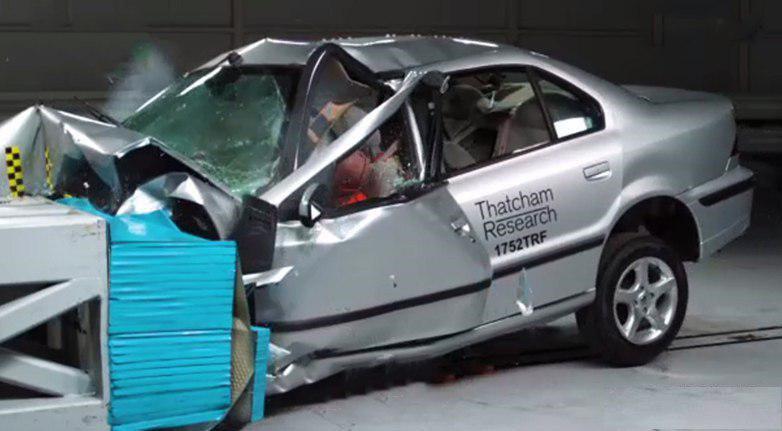 تست تصادف سمند در انگلیس / فقط با سرعت 50 کیلومتر در ساعت !