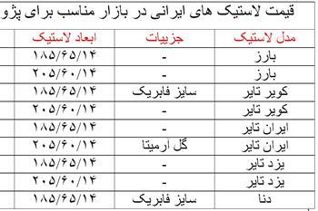 لاستیک های ایرانی موجود در بازار چقدر قیمت دارد؟ + جدول - 1
