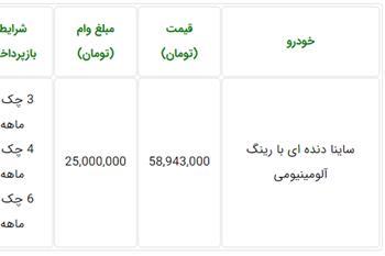 شرایط ویژه فروش خودرو ساینا با وام 25 میلیون تومانی - 1