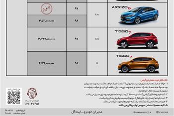 شرایط جدید فروش محصولات چری توسط مدیران خودرو + جدول - 1
